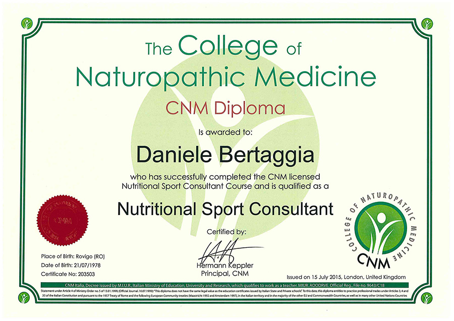 Diploma di Nutritional Sport Consultant
